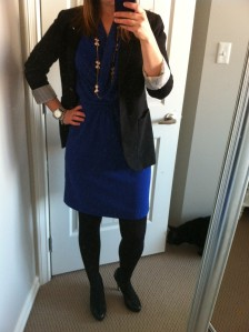 Dress: Smart Set, Blazer: Aritzia, Necklace: J Crew
