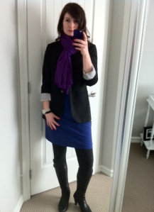 Dress: Smart Set, Blazer: Aritzia, Scarf: J Crew Factory, Boots: Browns