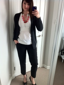 Necklace: J Crew Factory, Pants: J Crew Factory, Blouse: BCBG Max Azria