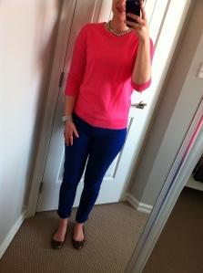 Lapis Pants: Joe Fresh, Pink Sweater: J Crew Factory, Watch: MK