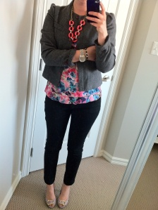 Blazer: thrifted, Floral Top: Joe Fresh, Pants: H&M, Shoes: The Bay, Necklace: J Crew Factory