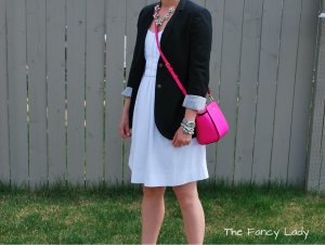 Dress: Joe Fresh, Blazer: Aritzia, Bag and Watch: Michaell Kors